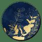 Blauwe waterverf en gouden takjes
