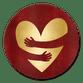Knuffel hart goud - rood