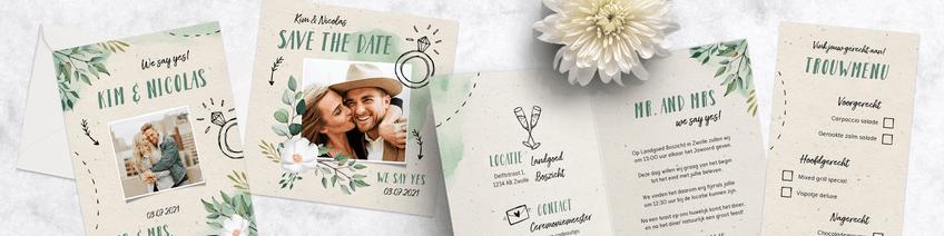 Botanische trouwkaarten sets