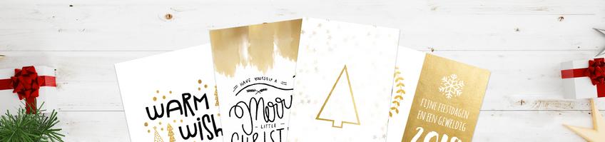Witte kerstkaarten met gouden versiering