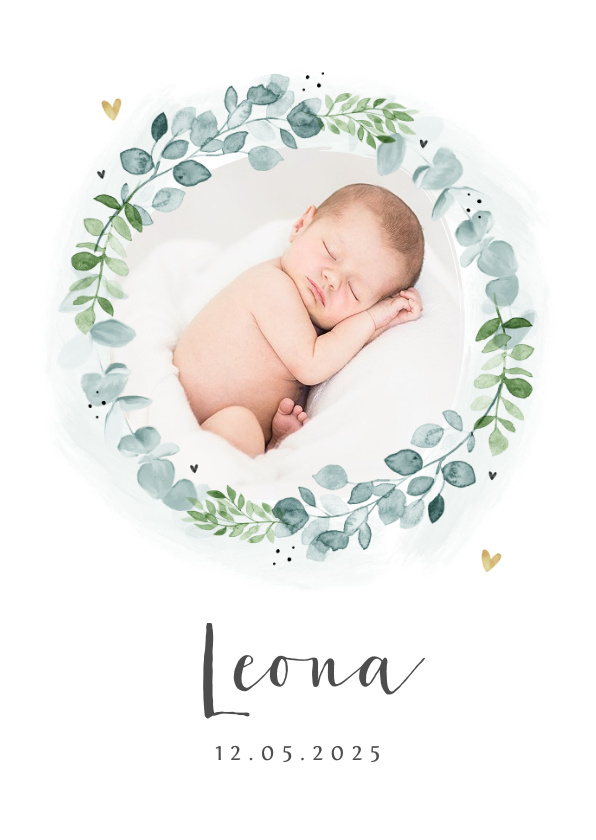 Vorname Leona als Geburtskarte