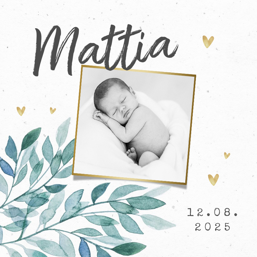 Vorname Mattia als Geburtskarte