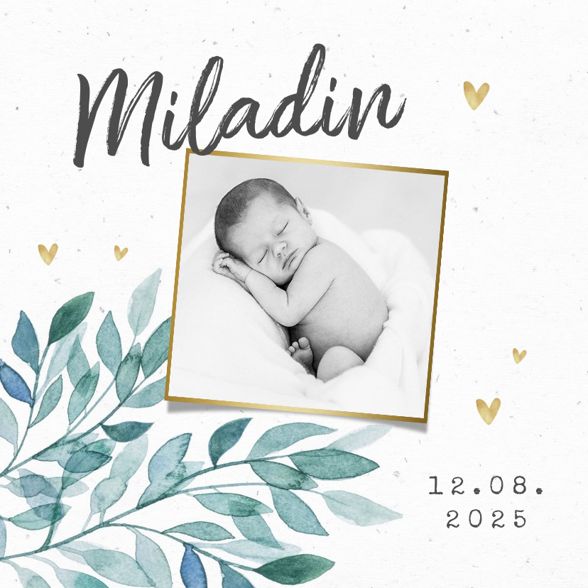 Vorname Miladin als Geburtskarte